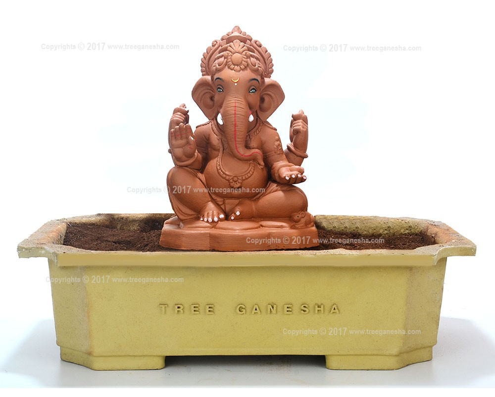 9inch Eco-Friendly Ganpati Murti | Tree Ganesha