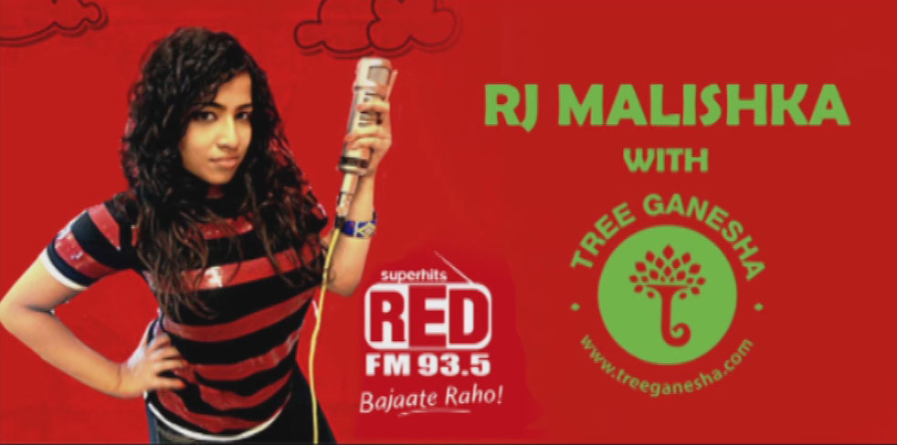 Red FM 93 5 RJ Malishka with tree ganesha