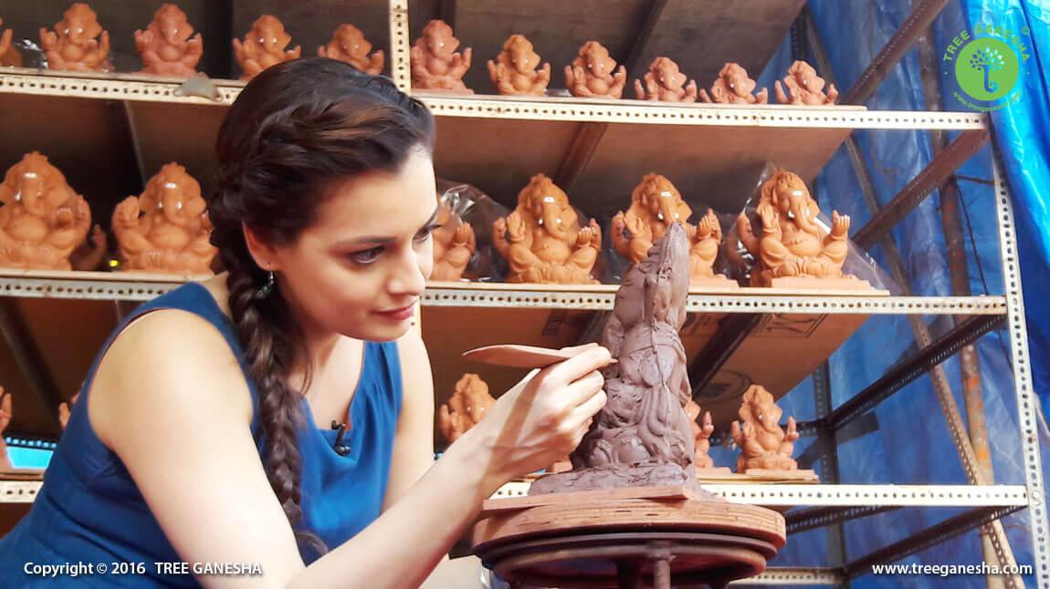 The renowned Bollywood actress Dia Mirza is making Tree Ganesha at Tree Ganesha Studio