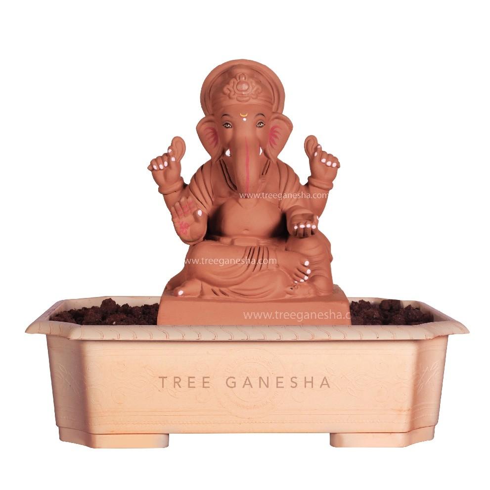 9inch Eco-Friendly Ganpati Murti | Tree Ganesha (Shivrekar)