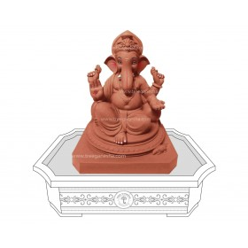 12inch Eco-Friendly Ganpati Murti| Tree Ganesha (Double load Ganpati)