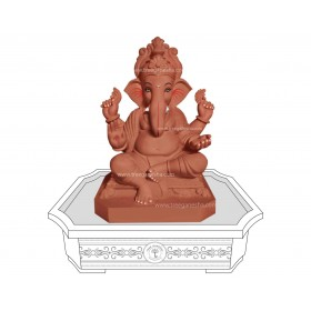 15inch Eco-Friendly Ganpati Murti | Tree Ganesha (Chaurang Ganpati)