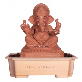15inch Eco-Friendly Ganpati Murti | Tree Ganesha (Titwala Ganpati)