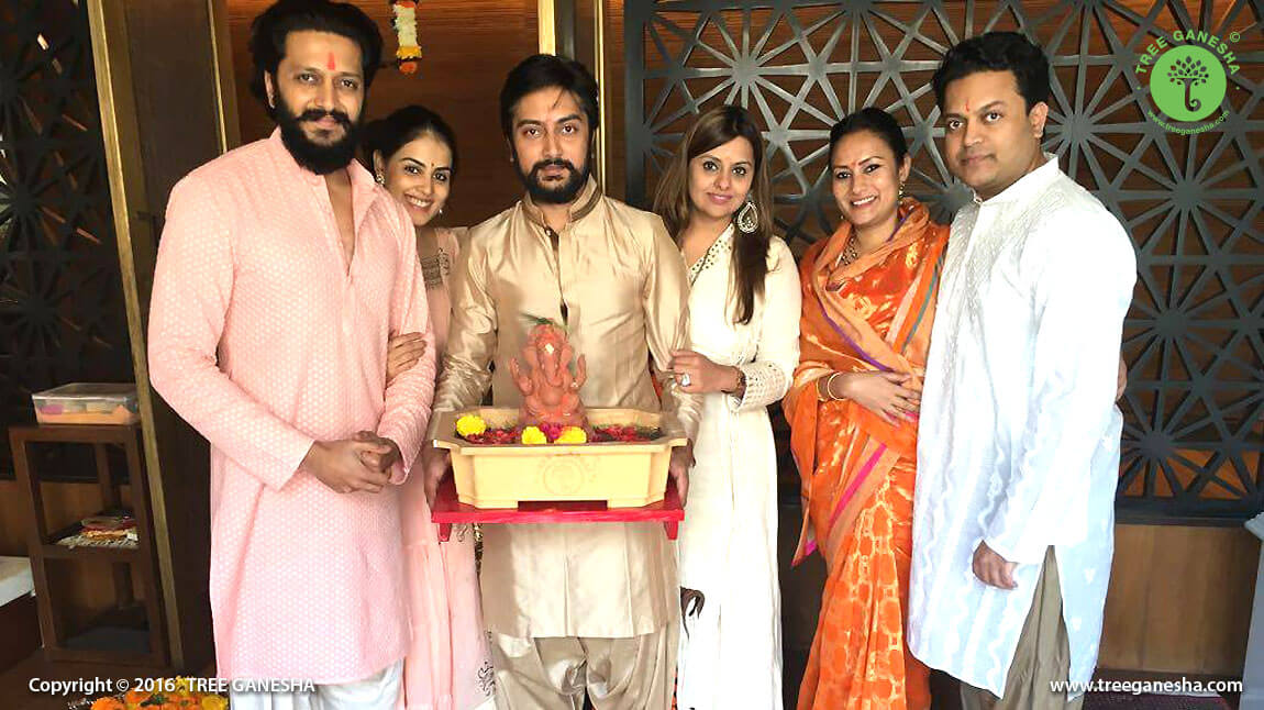 The Riteish Deshmukh and Family adored Tree Ganesha with the message of spreading happiness and prosperity for the greener future
