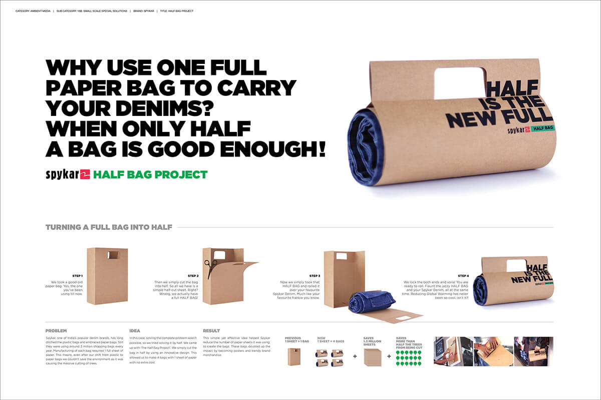 A creative idea from Dattadri Kohur to conserve trees by introducing Spykar Half Bag project