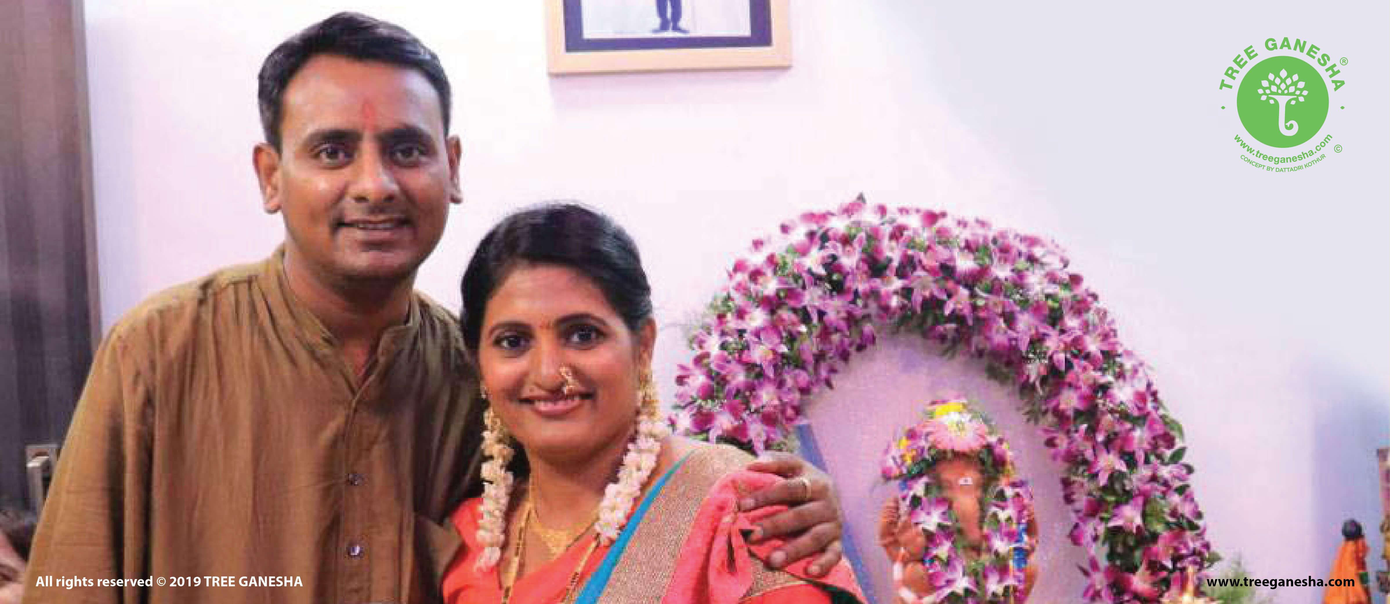 A Marathi comedian Sagar Karande adopted Tree Ganesha in his home